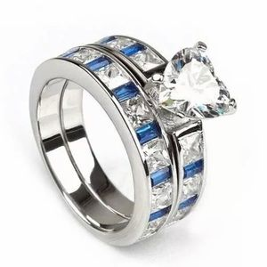 Wedding Band Ring Set Heart CZ Blue Accents